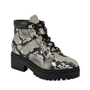 Marc Fisher Lug Kini Leather Snakeskin Combat Boot